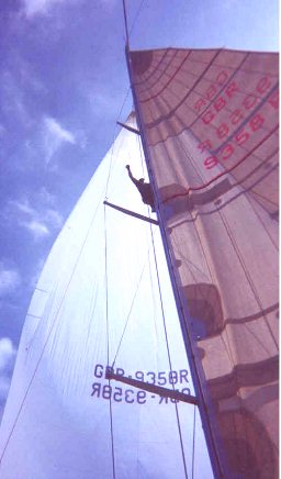 A jammed halyard at the masthead